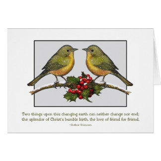 Two LIttle Birds Facing: Holly, Friends: Christmas Greeting Card