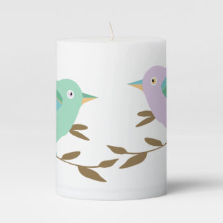 Two little birds in love pillar candle