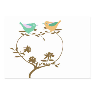 Two little birds on a heart shaped branch large business card