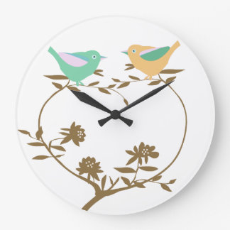 Two little birds on a heart shaped branch large clock