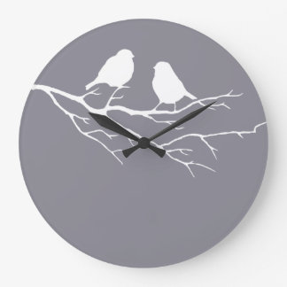 Two Little Birds Oxford Gray Sparrows, Nature Large Clock