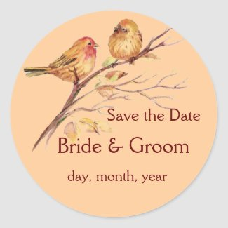 Two Little Birds Save the Date Custom Wedding sticker