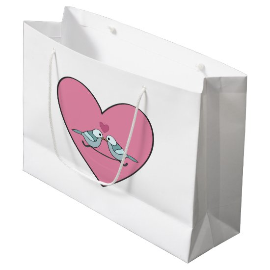 Two Little Blue Birds and Two Pink Hearts Large Gift Bag