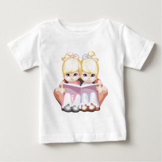 Two Little Blue Eyed Girls in Pink T-shirt
