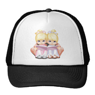 Two Little Blue Eyed Girls in Pink Trucker Hat