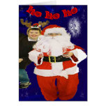 two little boysplayingsanta and riendeer greeting cards