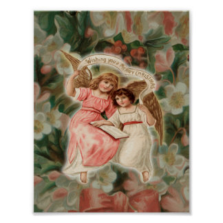 Two little Christmas Angels Poster