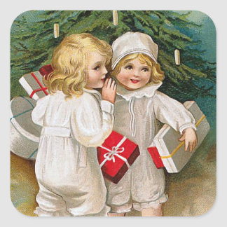 Two Little Christmas Girls Square Sticker