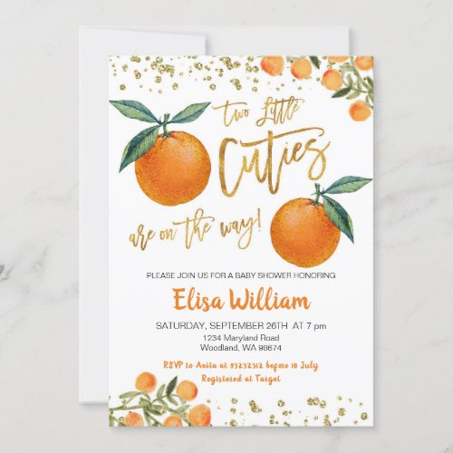Two little cuties are on the way invitation