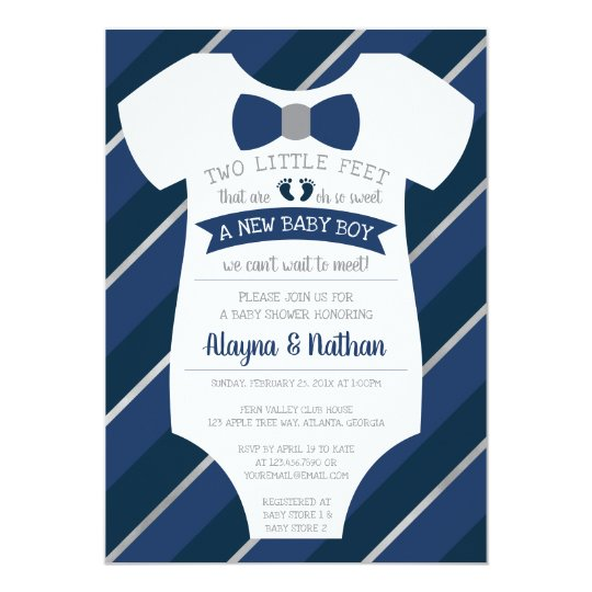 Two Little Feet Baby Shower Invitation, Bow Tie Card