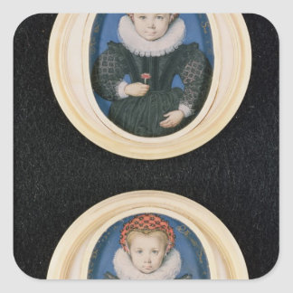 Two Little girls, 1590 Square Sticker