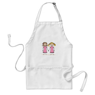 Two little girls holding hands adult apron