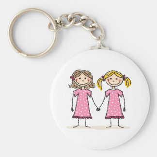 Two little girls holding hands basic round button keychain