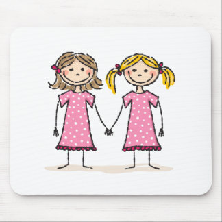 Two little girls holding hands mouse pad