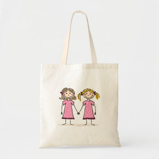 Two little girls holding hands tote bag