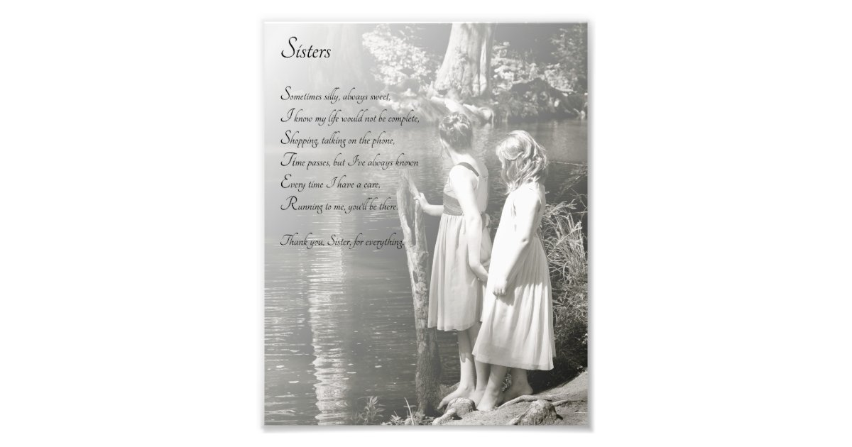 Two Little Girls Sisters Thank You Poem Print Zazzle Com