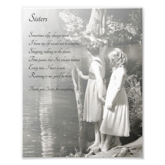 Two Little Girls Sisters Thank You Poem Print Photo Print
