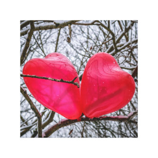 Two Little hearts, Kissing In A Tree Canvas Print