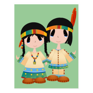 Two Little Indians Postcard