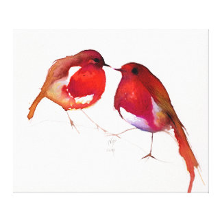 Two Little Ink Birds 2014 Canvas Print