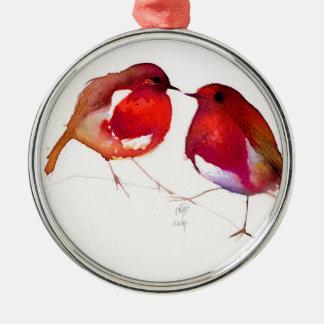 Two Little Ink Birds 2014 Metal Ornament