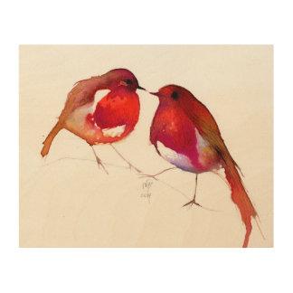 Two Little Ink Birds 2014 Wood Print