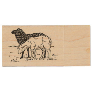Two Little Lambs Sheep Sketch Wood USB Flash Drive