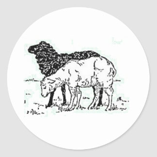 Two Little Lambs Sketch Classic Round Sticker