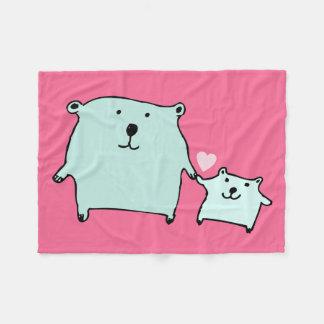 Two Little Love Bears Pink Fleece Blanket