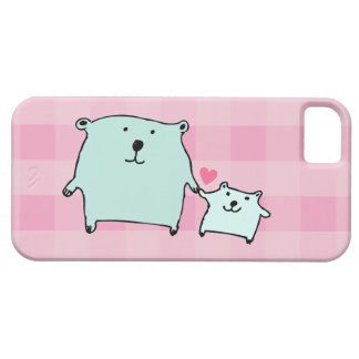 Two Little Love Bears Pink Gingham iPhone 5 Case