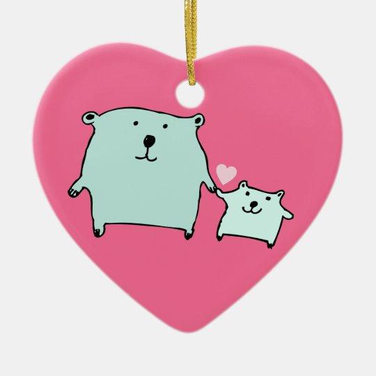 Two Little Love Bears Pink Heart Ornament