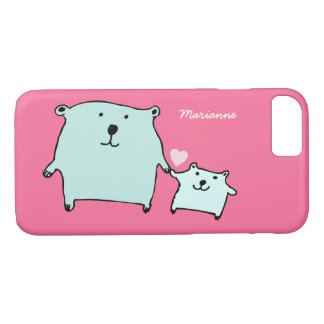 Two Little Love Bears Pink iPhone 7 Case