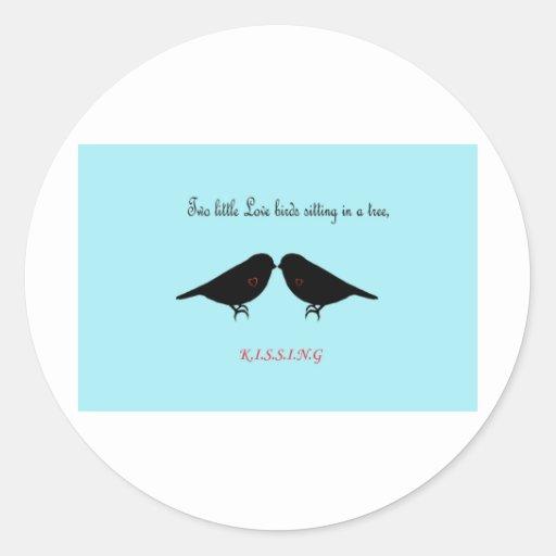 Two Little Love Birds Round Sticker