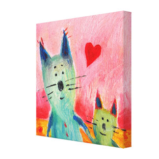 Two Little Love Cats Canvas Print