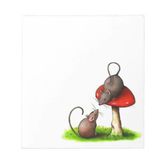 Two Little Mice And A Toadstool; Mushroom: Art Notepad