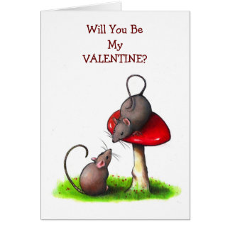 Two Little Mice and a Toadstool: Valentine Greeting Cards