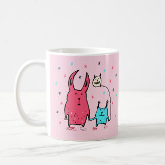 Two Little Monsters Pink Mug