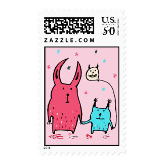 Two Little Monsters Pink Postage Stamps