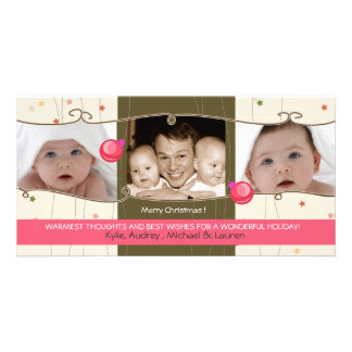Two Little ornaments - holiday photocard Card