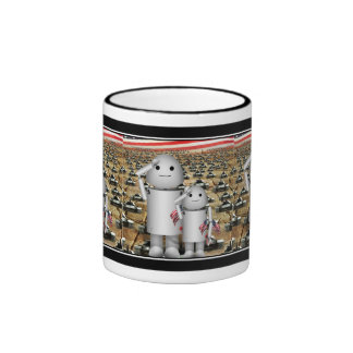 Two Little Patriotic Robots with Lots of Tanks Coffee Mug