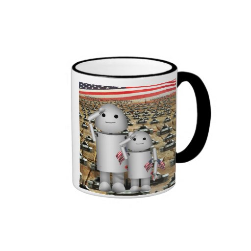 Two Little Patriotic Robots with Lots of Tanks Ringer Coffee Mug