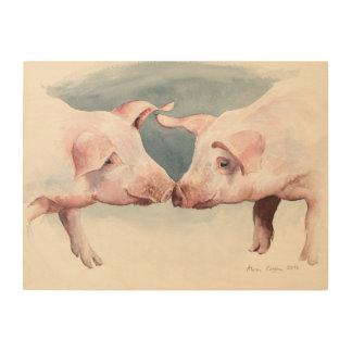 Two Little Piggies 2012 Wood Wall Art