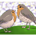 Two Little Robin Read Breast Ornament ornament