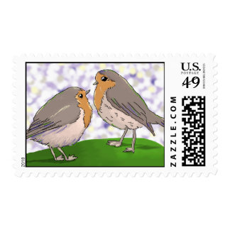 Two little Robin red breast birds stamps