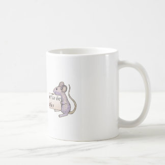 two little valentine's day mice, holding a banner coffee mug