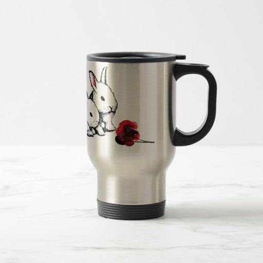 Two Little White Rabbits 15 Oz Stainless Steel Travel Mug