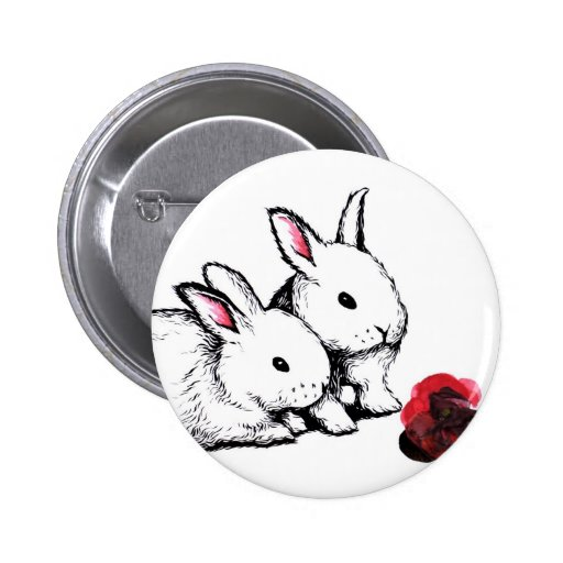 Two Little White Rabbits Buttons