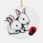 Two Little White Rabbits Christmas Ornament