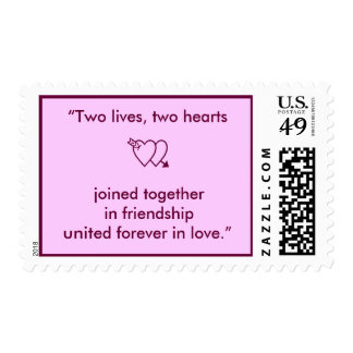 """""""Two lives, two hearts joined together in frien... Postage"""
