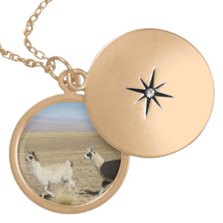 Two Llamas - 2 Bolivia Llama Gold Plated Necklace